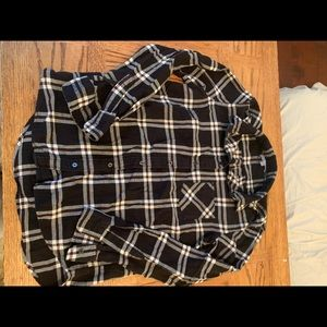 Uniqlo flannel black white red button shirt
